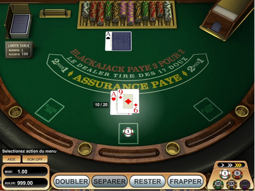 Table de BlackJack sur internet