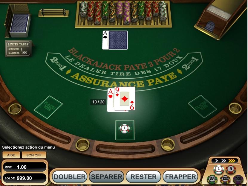 Table de BlackJack sur internet